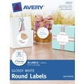 Avery® Print-to-the-Edge Glossy White Round Labels 22923, 2in. Diameter, Pack of 36