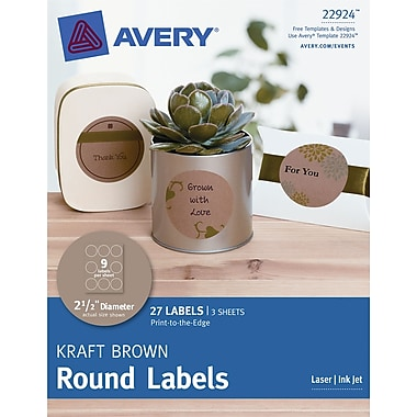 Avery® Print-to-the-Edge Kraft Brown Round Labels 22924, 2-1/2in. Diameter, Pack of 27