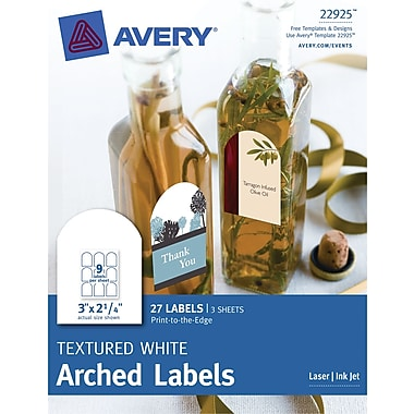 Avery® Print-to-the-Edge Textured White Arched Labels 22925, 2-1/4in. x 3in., Pack of 27