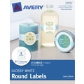 Avery® Print-to-the-Edge Glossy White Round Labels 22926, 2-1/2in. Diameter, Pack of 27