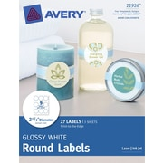 Avery® Print-to-the-Edge Glossy White Round Labels 22926, 2-1/2 Diameter, Pack of 27