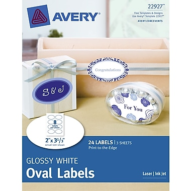Avery® Print-to-the-Edge Glossy White Oval Labels 22927, 2in. x 3-1/3in., Pack of 24