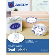 Avery® Print-to-the-Edge Glossy White Oval Labels 22927, 2 x 3-1/3, Pack of 24