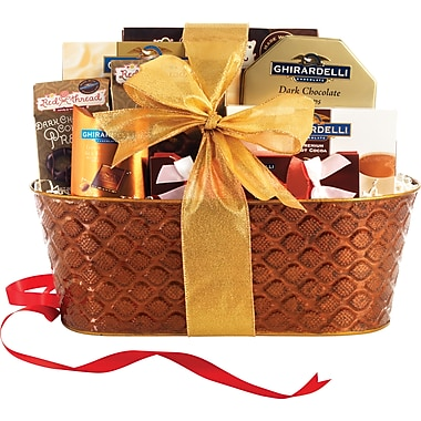 Ghiradelli Assortment Gift Basket with Gold Bow