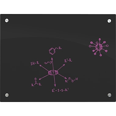 Enlighten Glass Dry Erase Markerboard, 3' x 4', Black