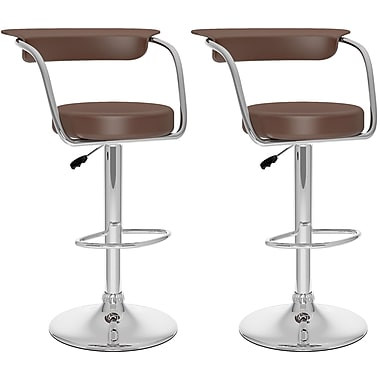 CorLiving Adjustable Bar Stools, Brown Leatherette, 2 per Set