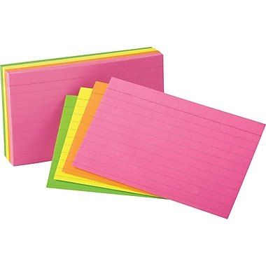 Oxford® Glow Index Cards, 3 x 5, Assorted Neon Colours, 100/Pack