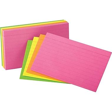 OxfordMD – Fiches lignées éclatantes, 3 x 5 po, couleurs variées néon, 100/paquet