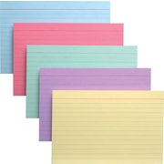 Oxford® Ruled Index Cards, 4x6, Assorted, 100/Pack