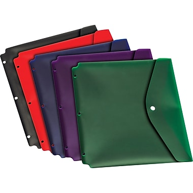 Cardinal Dual Pocket Snap Envelope with Holes, Letter Size, Assorted Colors, 5/Pk