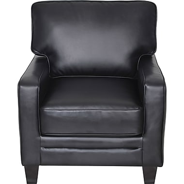 Serta Santa Rosa Collection Track Arm Accent Chair, Eco-friendly Smooth Black Bonded Leather