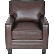 Serta Monaco Collection Track Arm Accent Chair, Eco-friendly Smooth Biscuit Brown Bonded Leather