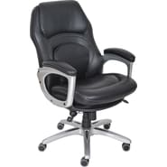 Serta Back in Motion™ Health & Wellness Executive Office Chair, Eco-friendly Bonded Leather, Smooth Black