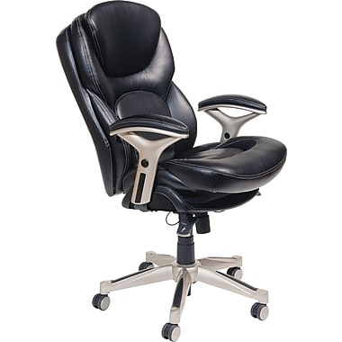 Serta Back in Motion™ Health & Wellness Mid-Back Office Chair, Eco-friendly Bonded Leather, Smooth Black
