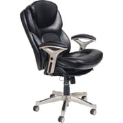 Serta Back in Motion Leather Executive Office Chair, Fixed Arms, Smooth Black (44186)