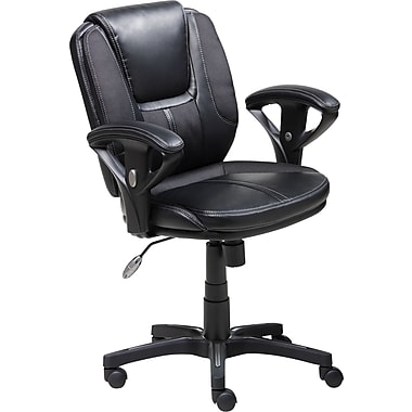 Serta Task Chair, Puresoft® Faux Leather with Mesh, Black