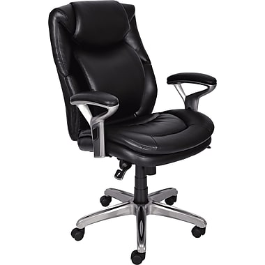 Serta AIR™ Health & Wellness Mid-Back Office Chair, Eco-friendly Bonded Leather, Smooth Black