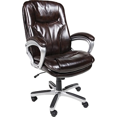 Serta Executive Big Tall Office Chair Puresoft Faux Leather Roasted Ch