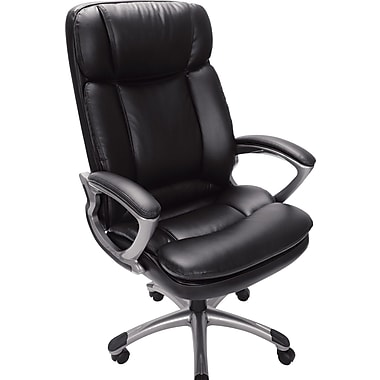 Serta Executive Big and Tall PureSoft Faux Leather Office Chair, Smooth Black
