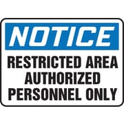 "Accuform Signs® 7"" x 10"" Vinyl Safety Sign ""NOTICE RESTRICTED AREA.."", Blue/Black On White"
