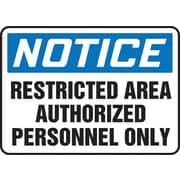 "Accuform Signs® 10"" x 14"" Plastic Safety Sign ""NOTICE RESTRICTED AREA.."", Blue/Black On White"