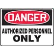 Accuform Signs® 10in. x 14in. Aluminum Safety Sign in.DANGER AUTHORIZED PERSONNEL..in., Red/Black On White