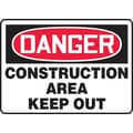 Accuform Signs® 10in. x 14in. Plastic Safety Sign in.DANGER CONSTRUCTION AREA KEEP..in., Red/Black On White