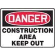 Accuform Signs® 10in. x 14in. Aluminum Safety Sign in.DANGER CONSTRUCTION AREA KEEP..in., Red/Black On White