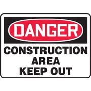 """Accuform Signs® 10"""" x 14"""" Vinyl Safety Sign """"DANGER CONSTRUCTION AREA KEEP.."""", Red/Black On White"""
