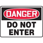"""Accuform Signs® 7"""" x 10"""" Plastic Safety Sign """"DANGER DO NOT ENTER"""", Red/Black On White"""