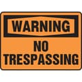 Accuform Signs® 10in. x 14in. Aluminum Safety Sign in.WARNING NO TRESPASSINGin., Black On Orange