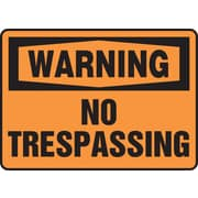 "Accuform Signs® 10"" x 14"" Vinyl Safety Sign ""WARNING NO TRESPASSING"", Black On Orange"