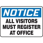 "Accuform Signs® 7"" x 10"" Vinyl Safety Sign ""NOTICE ALL VISITORS MUST.."", Blue/Black On White"