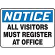 Accuform Signs® 10in. x 14in. Aluminum Safety Sign in.NOTICE ALL VISITORS MUST..in., Black/Blue On White