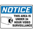 Accuform Signs® 7in. x 10in. Plastic Safety Sign in.NOTICE THIS AREA IS..W/GRAPHICin., Blue/Black On White