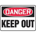 Accuform Signs® 7in. x 10in. Vinyl Safety Sign in.DANGER KEEP OUTin., Red/Black On White
