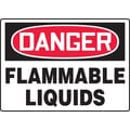 Accuform Signs® 7in. x 10in. Plastic Safety Sign in.DANGER FLAMMABLE LIQUIDSin., Red/Black On White