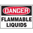 Accuform Signs® 10in. x 14in. Adhesive Vinyl Safety Sign in.DANGER FLAMMABLE LIQUIDSin., Red/Black On White