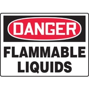 "Accuform Signs® 10"" x 14"" Adhesive Vinyl Safety Sign ""DANGER FLAMMABLE LIQUIDS"", Red/Black On White"