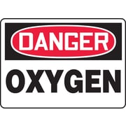 "Accuform Signs® 7"" x 10"" Adhesive Vinyl Safety Sign ""DANGER OXYGEN"", Red/Black On White"