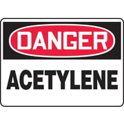 "Accuform Signs® 10"" x 14"" Adhesive Vinyl Safety Sign ""DANGER ACETYLENE"", Red/Black On White"
