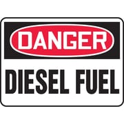 "Accuform Signs® 7"" x 10"" Adhesive Vinyl Safety Sign ""DANGER DIESEL FUEL"", Red/Black On White"