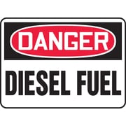 "Accuform Signs® 10"" x 14"" Adhesive Vinyl Safety Sign ""DANGER DIESEL FUEL"", Red/Black On White"