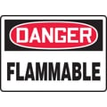 Accuform Signs® 7in. x 10in. Adhesive Vinyl Safety Sign in.DANGER FLAMMABLEin., Red/Black On White
