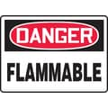 Accuform Signs® 10in. x 14in. Plastic Safety Sign in.DANGER FLAMMABLEin., Red/Black On White
