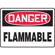 "Accuform Signs® 10"" x 14"" Adhesive Vinyl Safety Sign ""DANGER FLAMMABLE"", Red/Black On White"