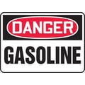 Accuform Signs® 7in. x 10in. Adhesive Vinyl Safety Sign in.DANGER GASOLINEin., Red/Black On White