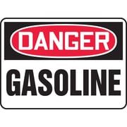 "Accuform Signs® 7"" x 10"" Adhesive Vinyl Safety Sign ""DANGER GASOLINE"", Red/Black On White"
