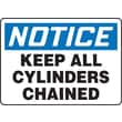 """Accuform Signs® 7"""" x 10"""" Adhesive Vinyl Safety Sign """"NOTICE KEEP ALL CYLIND.."""", Blue/Black On White"""