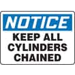 Accuform Signs® 10in. x 14in. Plastic Safety Sign in.NOTICE KEEP ALL CYLIND..in., Blue/Black On White